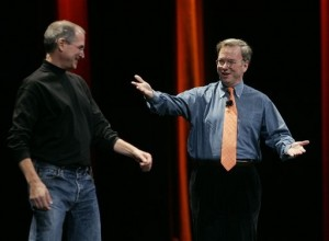 Eric-Schmidt-Steve-Jobs-on-stage-300x220